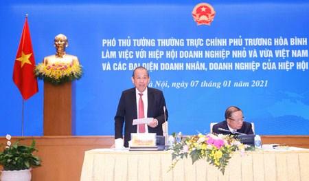 Phó Thủ tướng Thường trực làm việc với Hiệp hội doanh nghiệp nhỏ và vừa