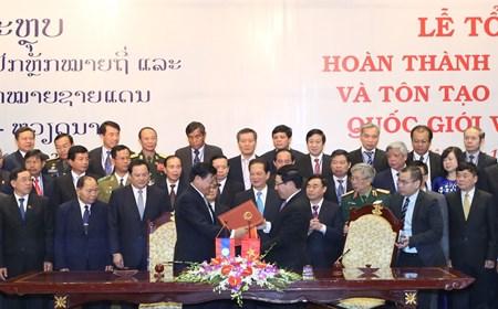 Một số hình ảnh tại Lễ tổng kết Dự án tăng dày tôn tạo hệ thống mốc quốc giới Việt Nam-Lào