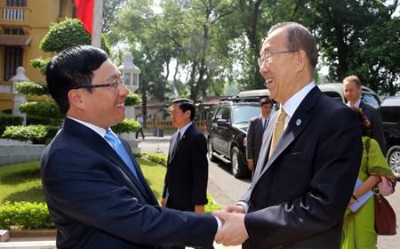 Hoạt động chung của Phó Thủ tướng, Bộ trưởng Ngoại giao Phạm Bình Minh và Tổng thư ký LHQ