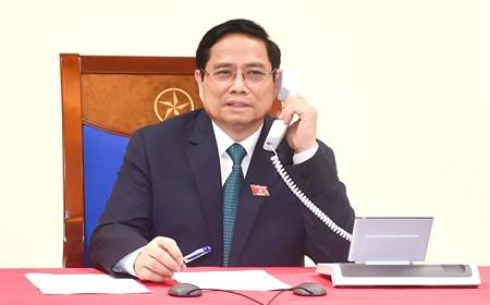 Thủ tướng Phạm Minh Chính điện đàm với Thủ tướng Lào